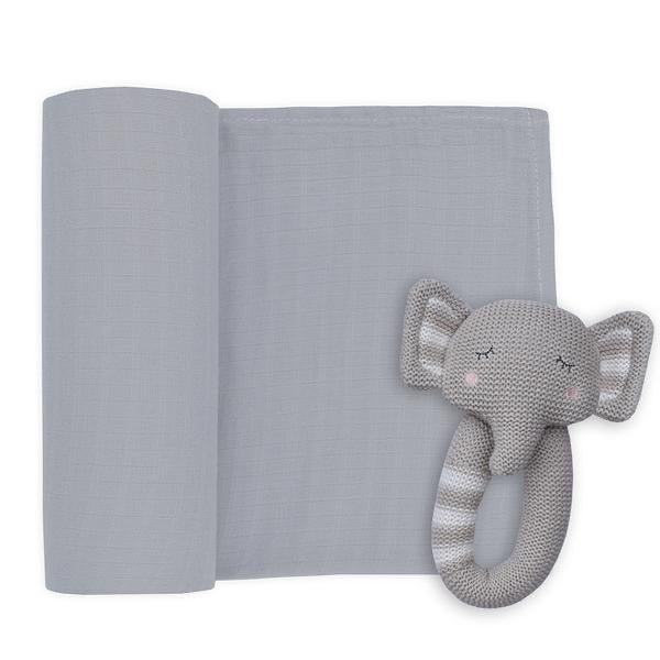 Theodore the Elephant Muslin Swaddle and Rattle Set