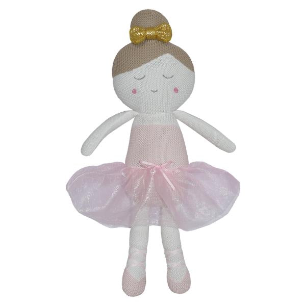 Sophia the Ballerina knitted soft toy with Rattle