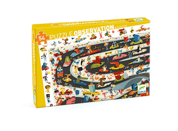 54pc Rally Automobile Observation Puzzle and Poster