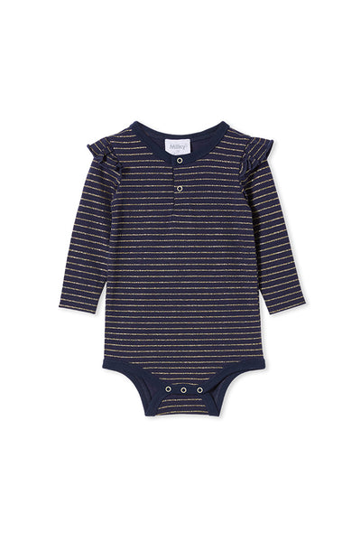 Milky Navy with Gold Stripe Bubbysuit