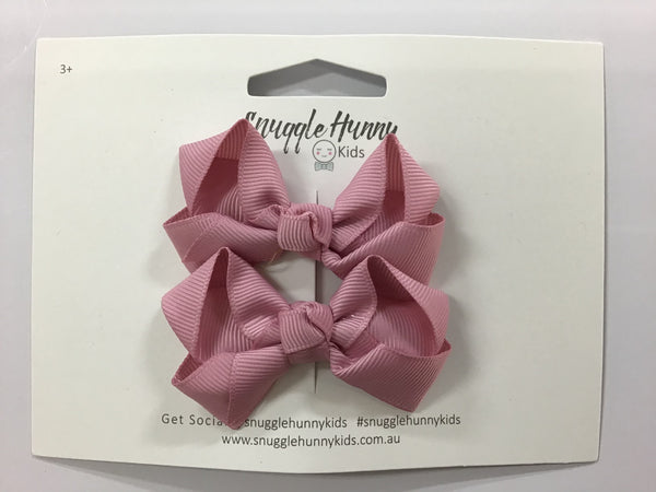 Snuggle Hunny Small 2 pack Bows Dusty Pink