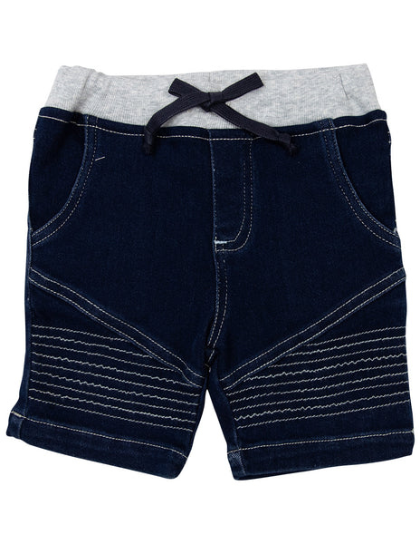 Korango Stretch Denim Knit Shorts Dark Wash