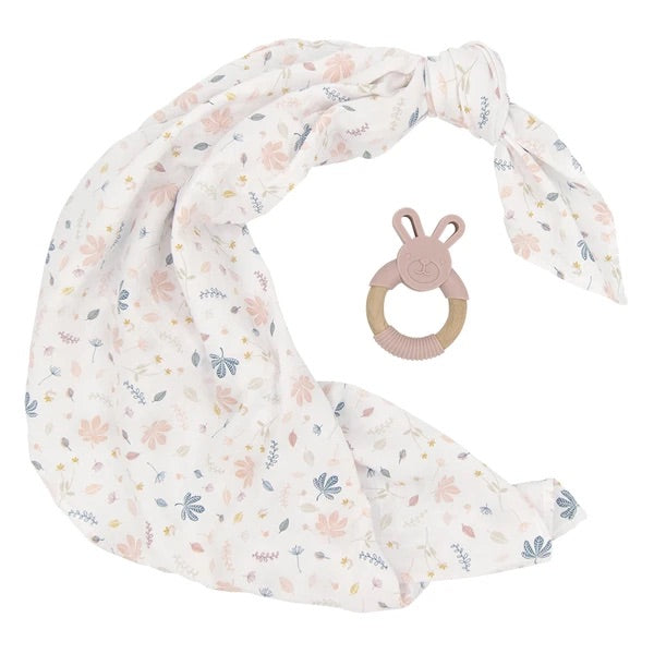Organic Muslin Swaddle and Teether Gift Set Botanical