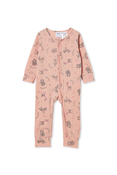 Milky Long Sleeve Woodland Sleep Romper Lotus