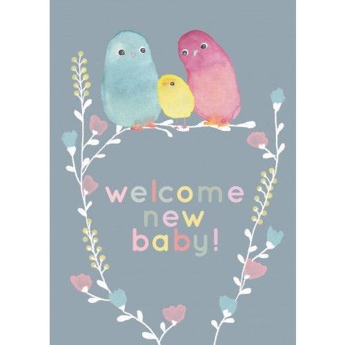Welcome New Baby Card with Birds