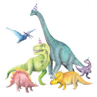 Dinosaurs with party hats