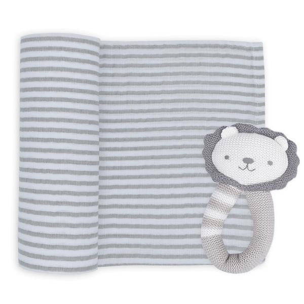 Austin the Lion Muslin Swaddle and Rattle Set