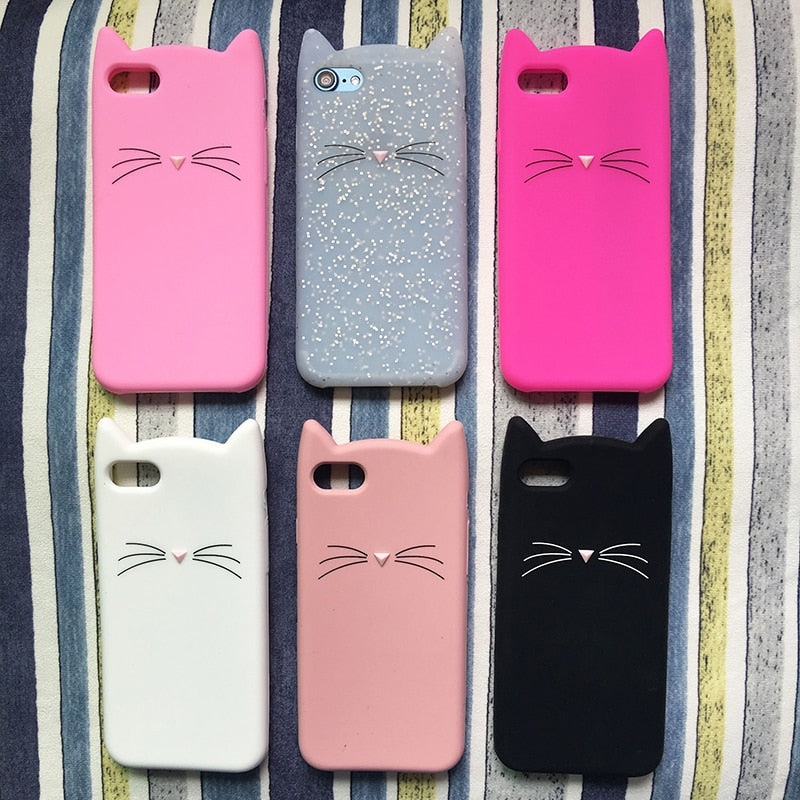 Cat Pink Black Soft Phone Case for iPhone 7 7Plus 6 6S 5S SE X XS Max