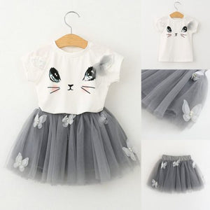 Cat Print T-shirt Tops Tutu Dress 2Pcs