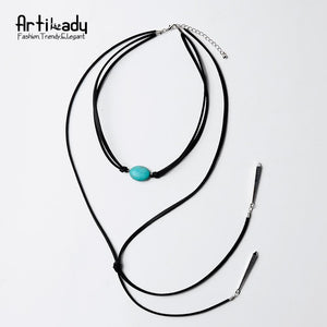 Artilady natural stone tassel necklace leather long chain