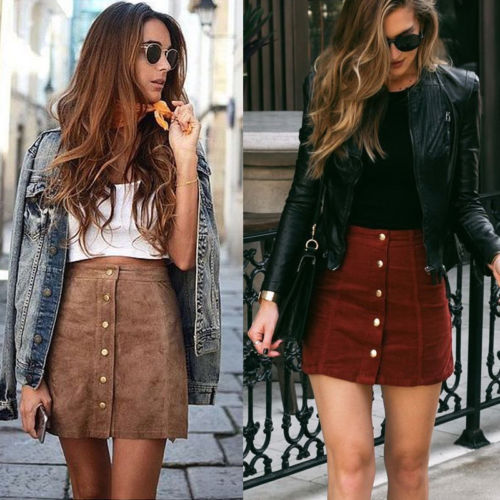 High Waist Button Suede Leather Skirt