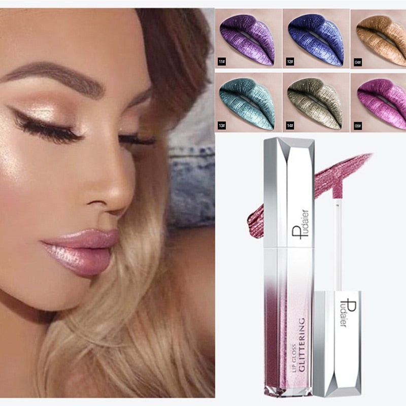 Pudaier Metallic Glitter Shine Full Color Lipstick Makeup Long-lasting Liquid Tint Lip Gloss Stick 18 Colors Moisturizing Batom