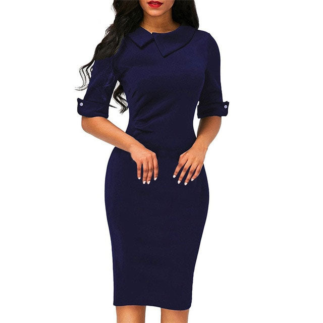 Turn-down Collar Knee-Length Dress