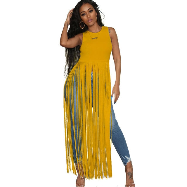 long tassels sexy sleeveless dress