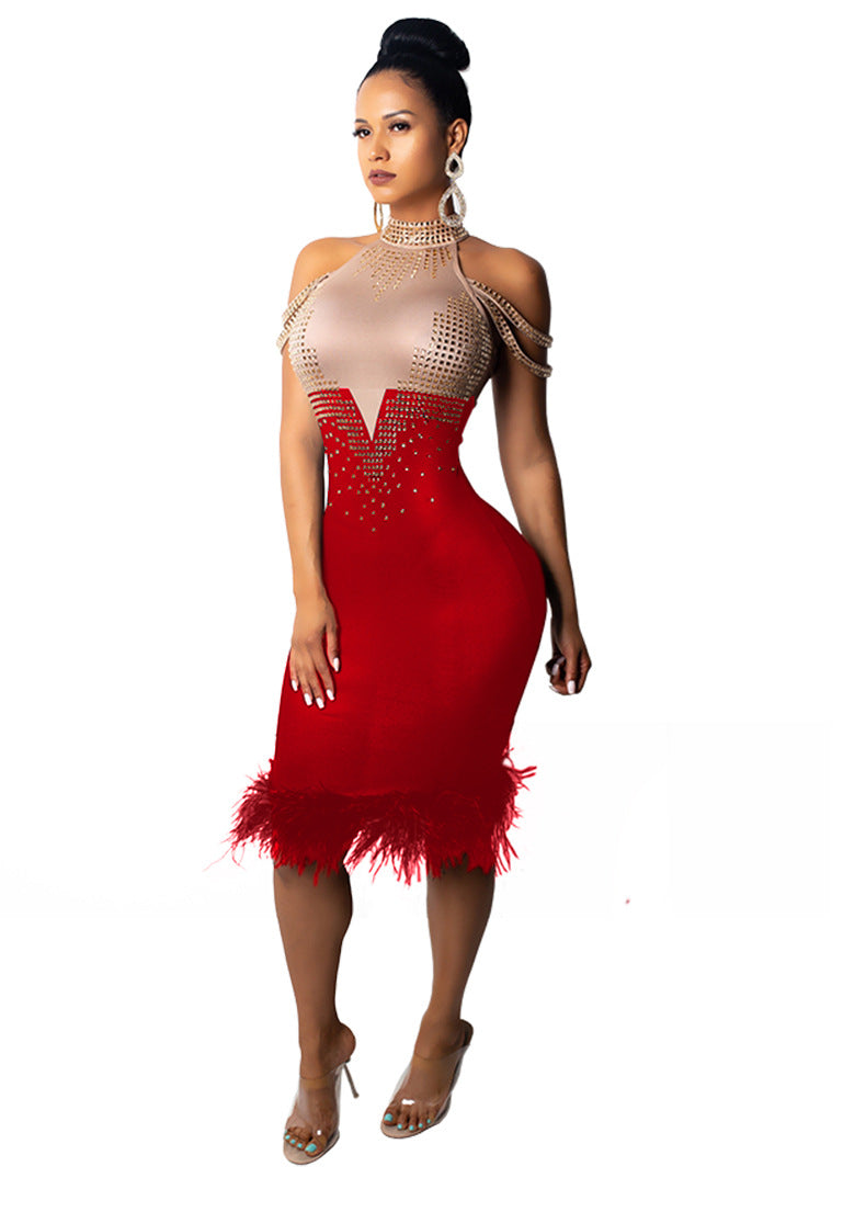 Summer Bandage Dress Women Elegant Red Off Shoulder Sexy Feather Bodycon Club Bead Dress Celebrity Party Dress