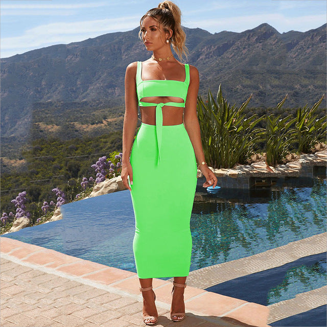 Sexy Two Piece Set 2 Piece Set Women Two Piece Outfits Crop Top And Skirt Set Bodycon Matching Sets