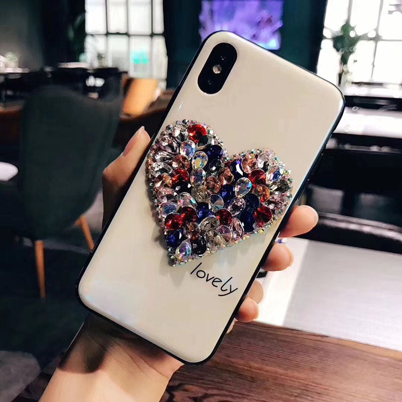 Tempered Glass Case Glitter Rhinestone Love Heart Phone Case For iPhone X XS XR XS Max 6 6S 7 8 Plus P20 Mate 20 Pro