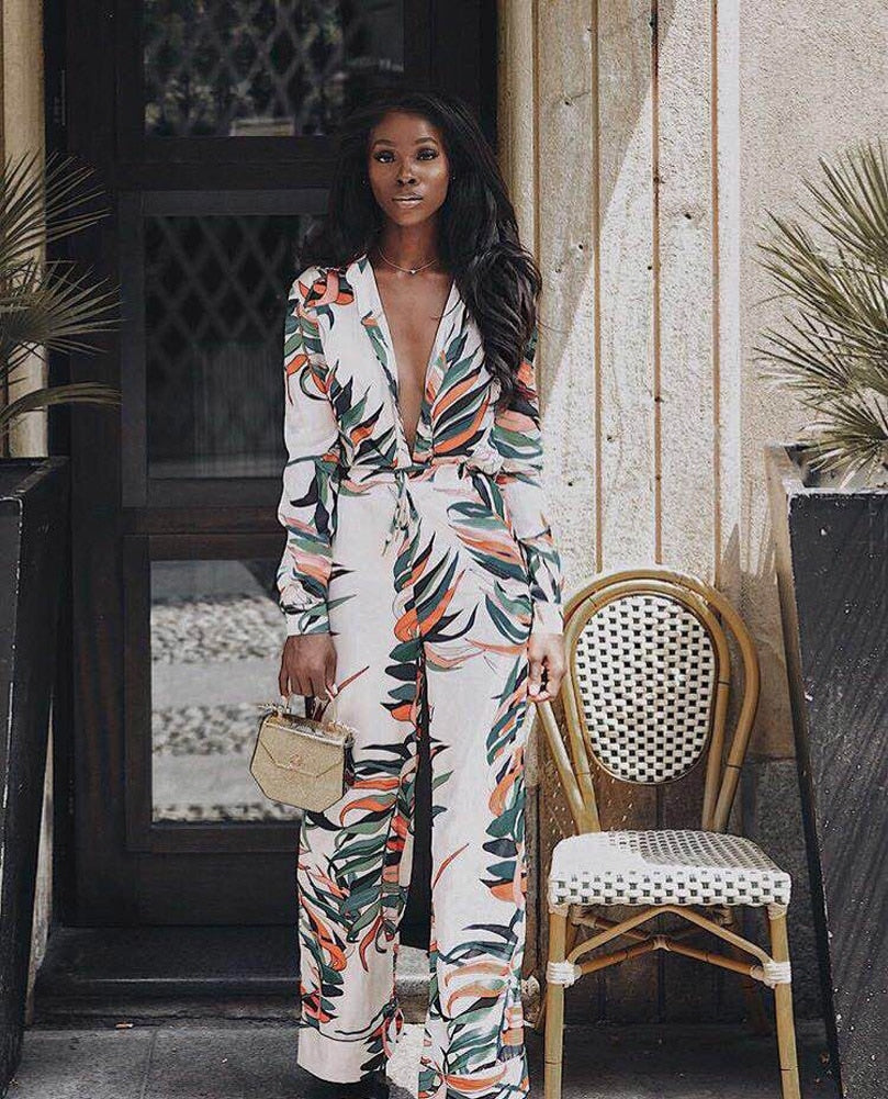 Women Sexy Lady Casual V Neck Plant Printed Long Sleeve Holiday Bodycon Jumpsuit Slim Romper Wide Leg Trouser