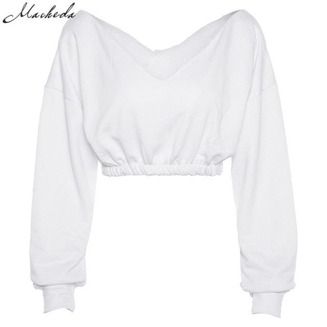 Sexy V-Neck Long Sleeve Off Shoulder Crop