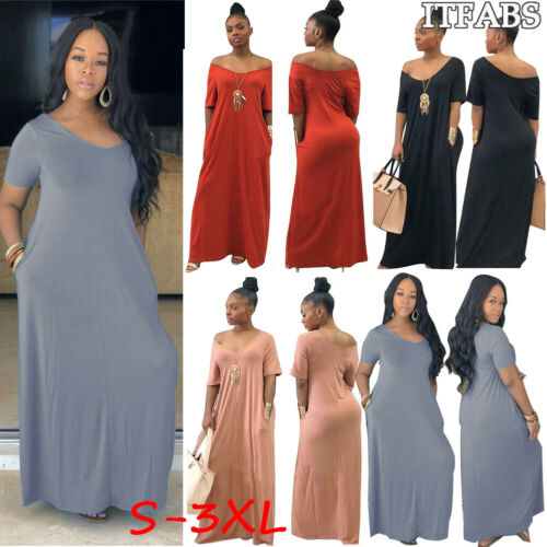 Women Solid Long Maxi Dress V Neck Pocket Short Sleeve Loose Solid Dresses Plus Size S-3XL