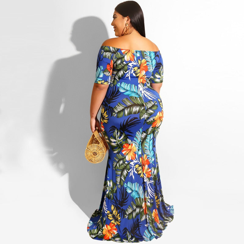 Floral Printed Bodycon  Maxi Dress