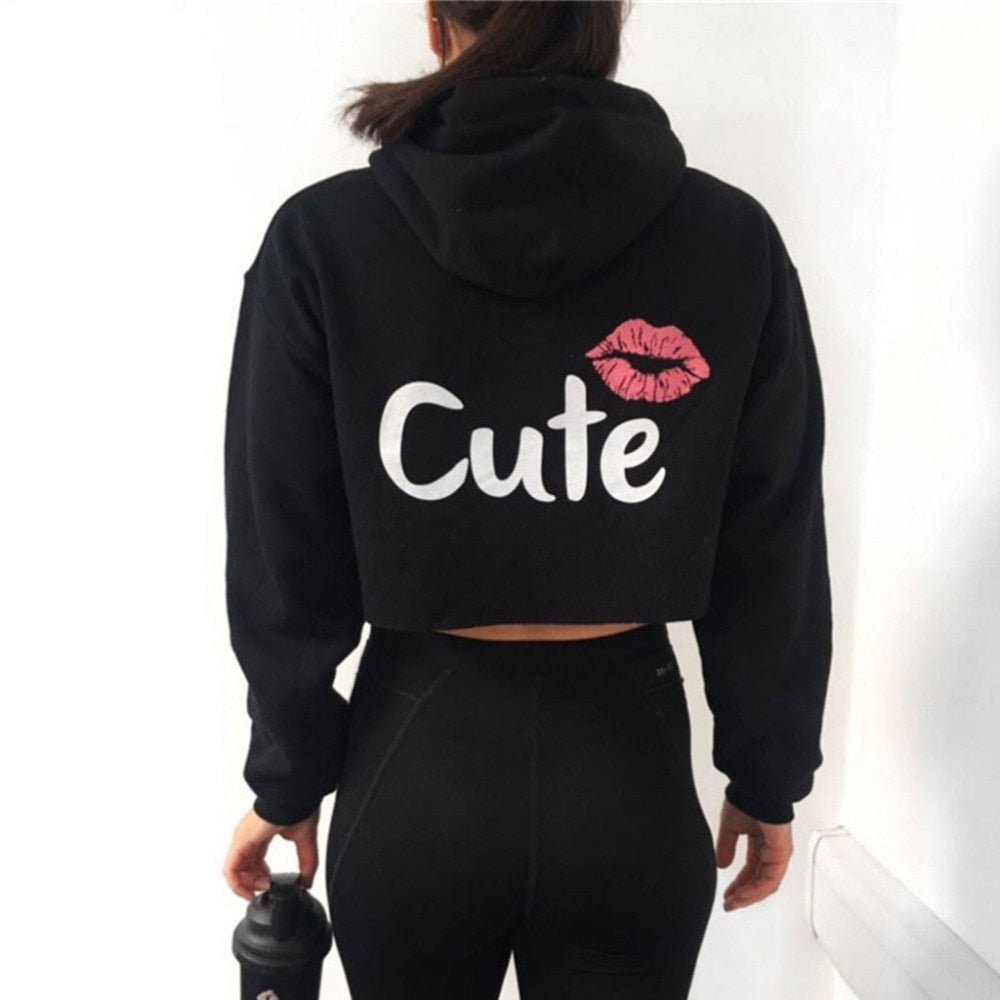 Lips Printed Crop Top Hoodie