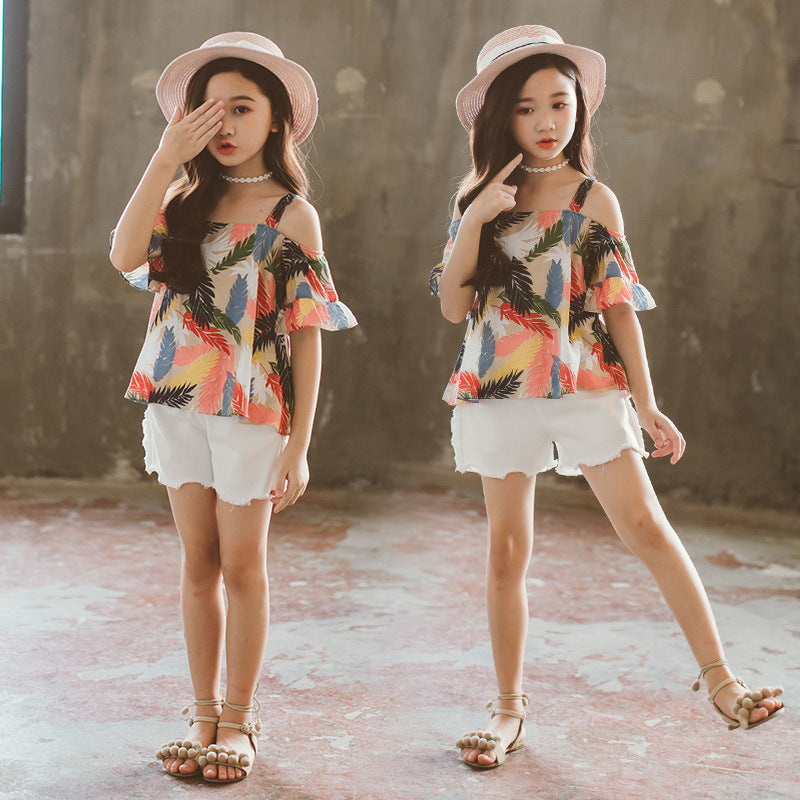 Girls Feather Print Tops + Denim Shorts