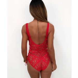 lace up swimsuit one piece