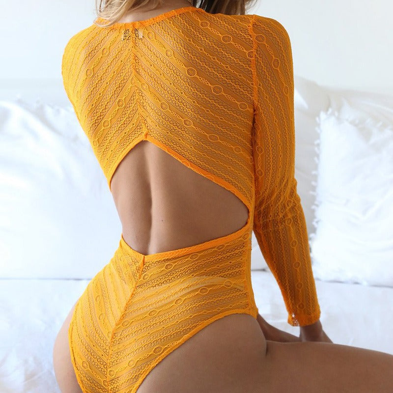 Women Slim Transparent Lace Bodysuit Back Hollow Bodycon Club Wear Rompers Sexy Deep V-Neck Lace Mesh Crochet Bodysuit