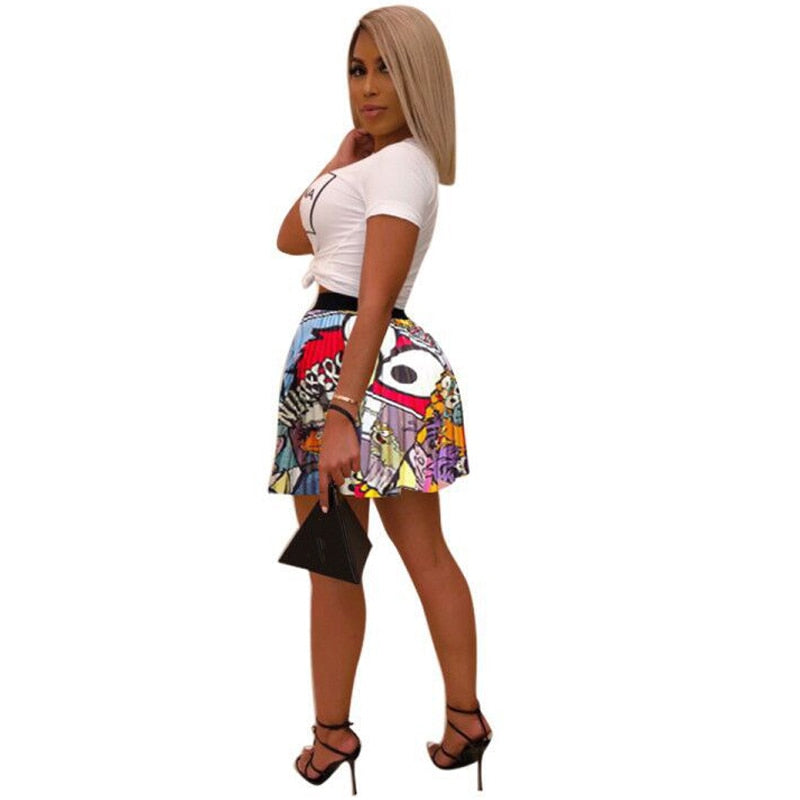 Cartoon Pattern Pleated Mini Skirt
