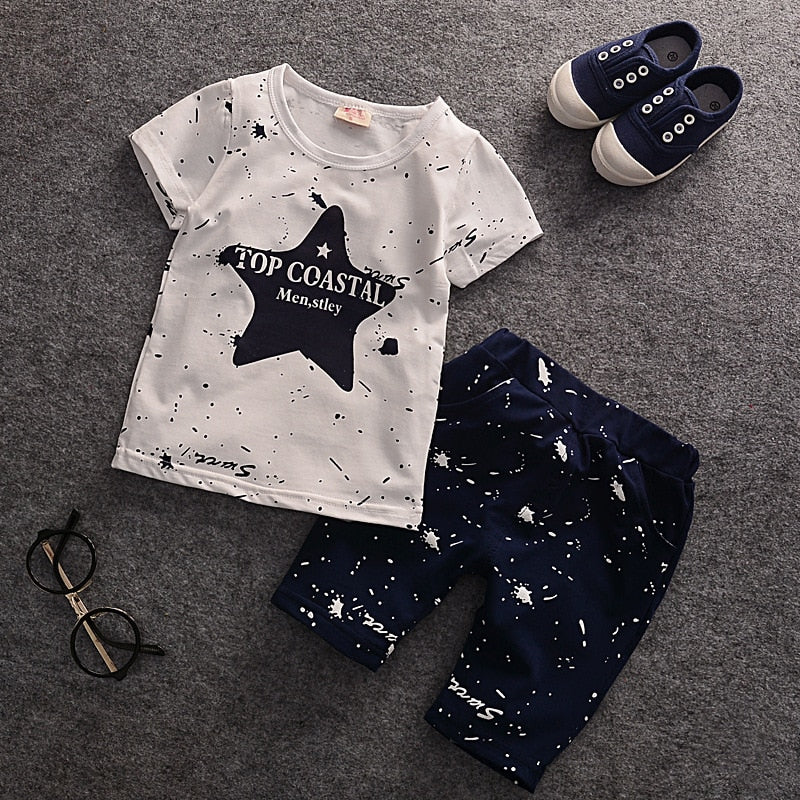Summer Baby Boys Clothes Kids Short Sleeve Clothing Set Star Toddler Boys short sleeved T-Shirts+Children Shorts