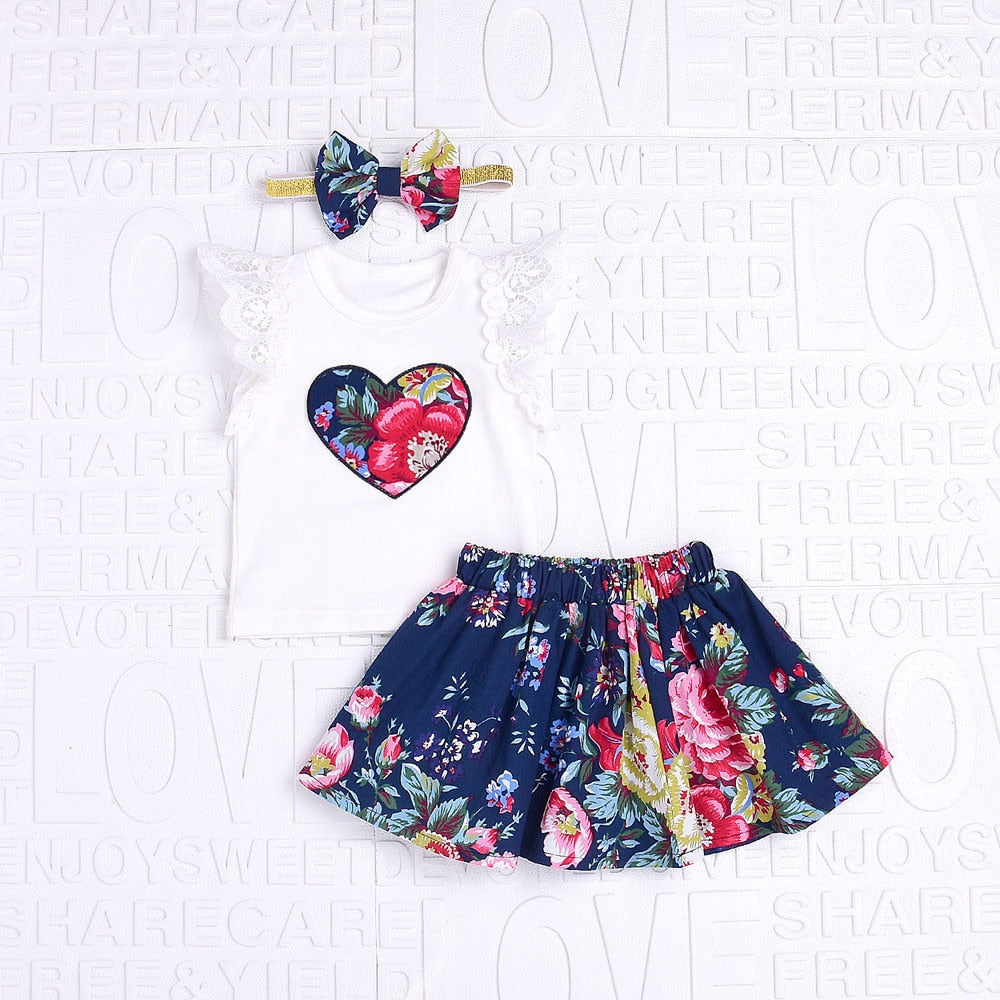 Floral Print Lace Tops+Print Skirt +Bow Headband