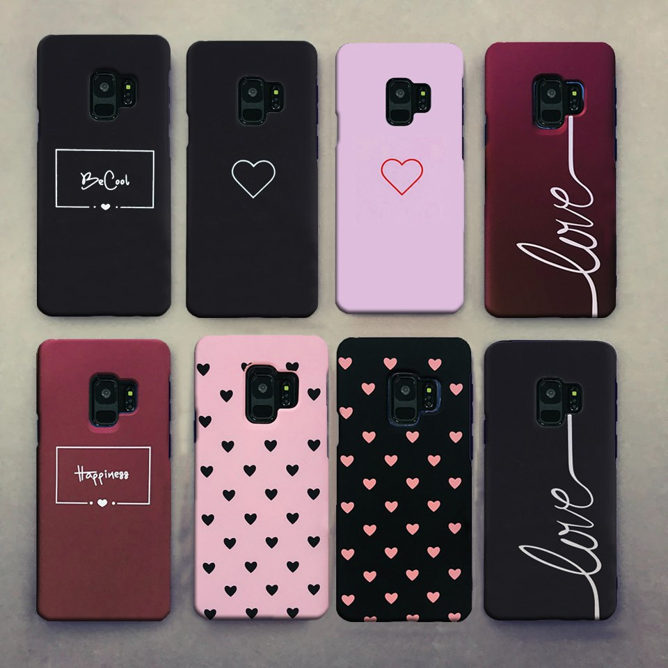 Cute Clear Couples Love Heart Black Pink Red Case