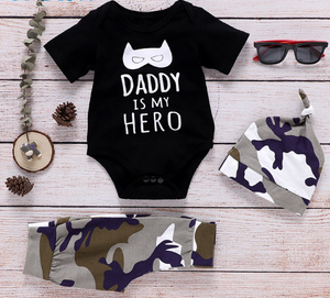 Wisefin Boy Clothing Infant Camo Black Baby Clothes Set Summer For Boy 3 Piece Cartoon Print Kids Outfit With Hat For Newborn