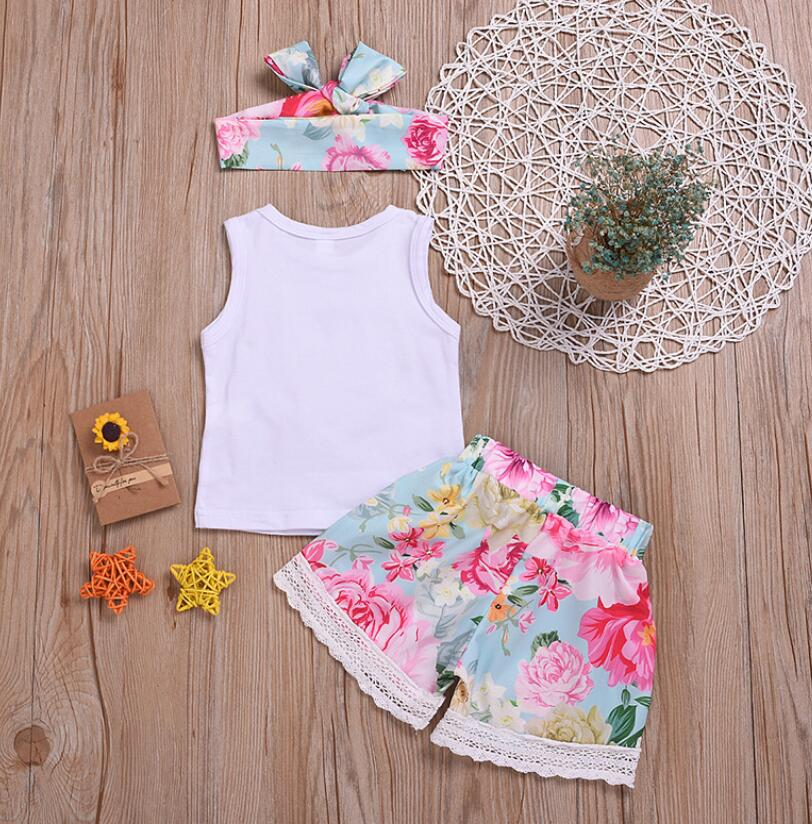 Clothing For Baby Floral Sleeveless T-shirt+Floral Lace Shorts+Headband Outfits