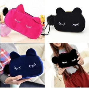 Portable Cartoon Cat Coin Storage Case Travel Makeup Flannel Pouch Cosmetic Bag Cases For Women Girls
