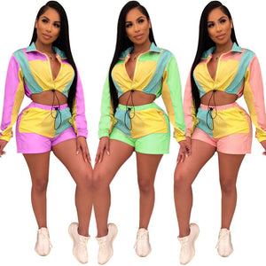 Wjustforu Casual Patchwork Two Piece Set Women Matching Sets Hooded Top and Biker Shorts Bodycon Sporting Tracksuit Vestidos