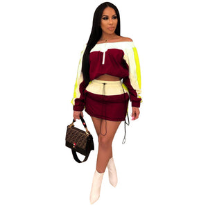 Long Sleeve Crop  Top And Bodycon Mini Skirt Tracksuit
