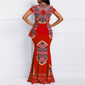 Women Maxi Dresses Casual Elegant Red Party Mermaid Square Neck Ethnic Print African Female ankarastyles Plus Size Dress