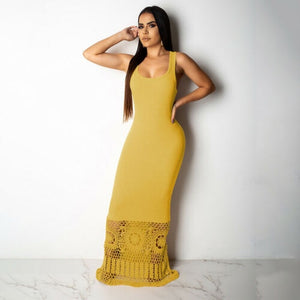 Women Summer Casual Dress Sleevless O-Neck Hollow Out Dresses Solid Color Black Yellow White Long Maxi Plus Size Dress Sundress