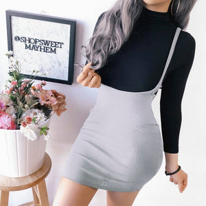 Bodycon Shoulder Straps High Waist Overall Suspender Skirt