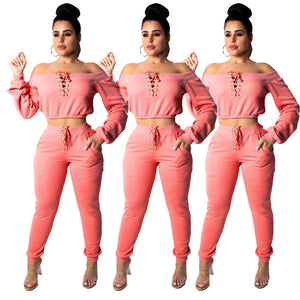 Spring Summer Women Two Piece Set Top and Pants Plus Size Outfits Tracksuit Sweatsuit Slash Neck Sexy Short Tops Long Trousers