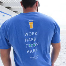 Adult Flo Blue Work Hard Pocket Tee