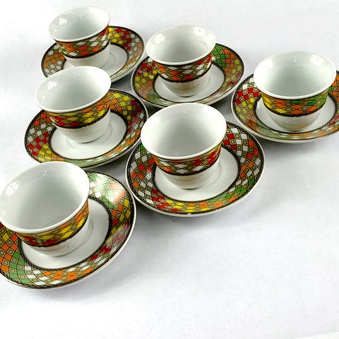6 pcs - Ethiopian Traditional Coffee Cups | 6 ባህላዊ የቡና ስኒዎች