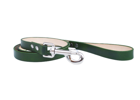 Forest green leather dog leash - 4.ft