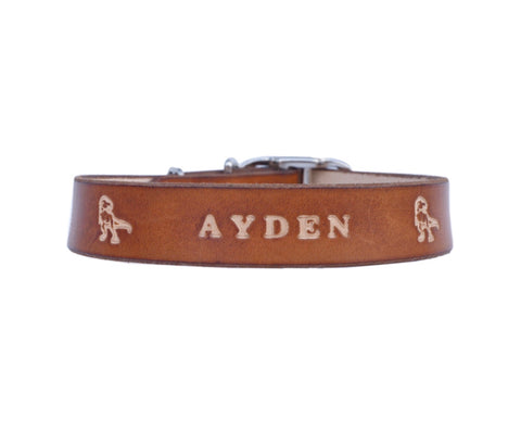 Leather dog collar   -   Milk chocolate