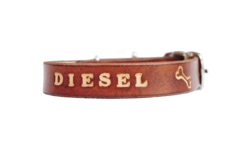 Small dog leather collar - Milk chocolate