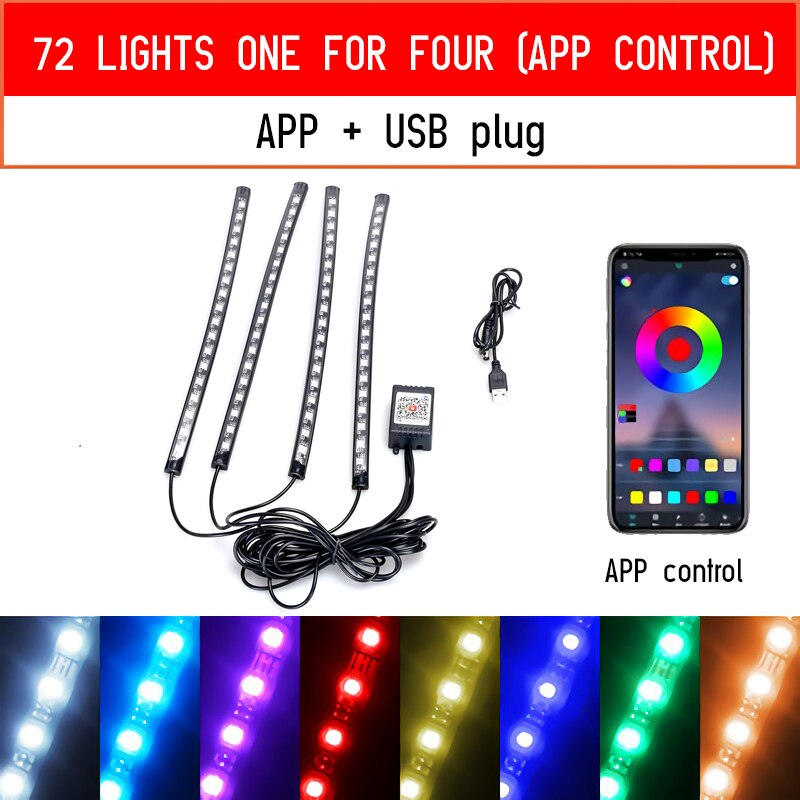 72 Led Car Foot Ambient Light - AmineMarket-Online shopping for the latest Products