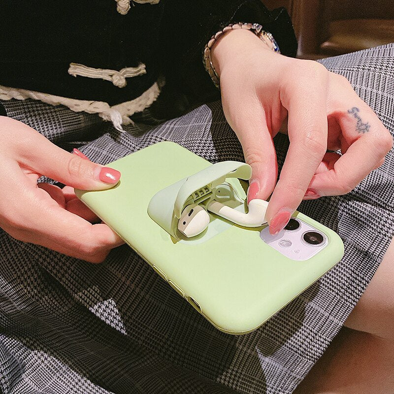 2 in 1 Liquid Silicone Phone Case Earphone Storage Box - AmineMarket-Online shopping for the latest Products