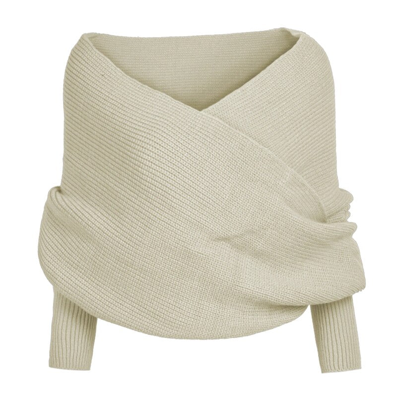 Knitted Wrap Scarf With Sleeves - AmineMarket-Online shopping for the latest Products